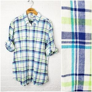 Express mens linen blend plaid casual shirt